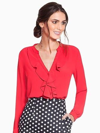 169cf5e660 Camisa Feminina Vermelha com Babado Principessa Lissa: Amazon.com.br ...
