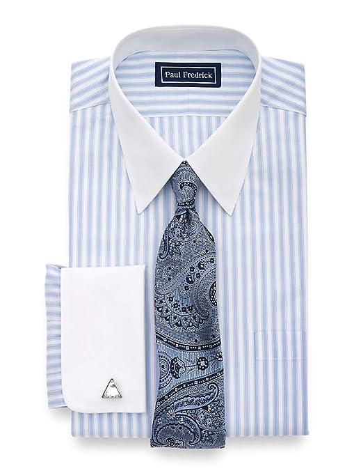 1920s Men's Dress Shirts Paul Fredrick Mens Slim Fit Egyptian Cotton Stripe Dress Shirt $69.00 AT vintagedancer.com