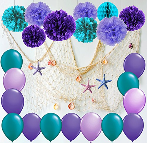 Furuix Mermaid Party Decorations /Under The Sea Party Teal Lavender Purple Tissue Paper Pom Pom Latex Balloons Fish Net with Shells and starffor Mermaid Birthday Decor Baby Shower Decorations (White)]()