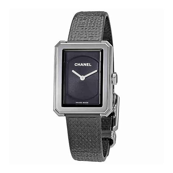 Chanel boy-friend negro Dial Damas Reloj h5317