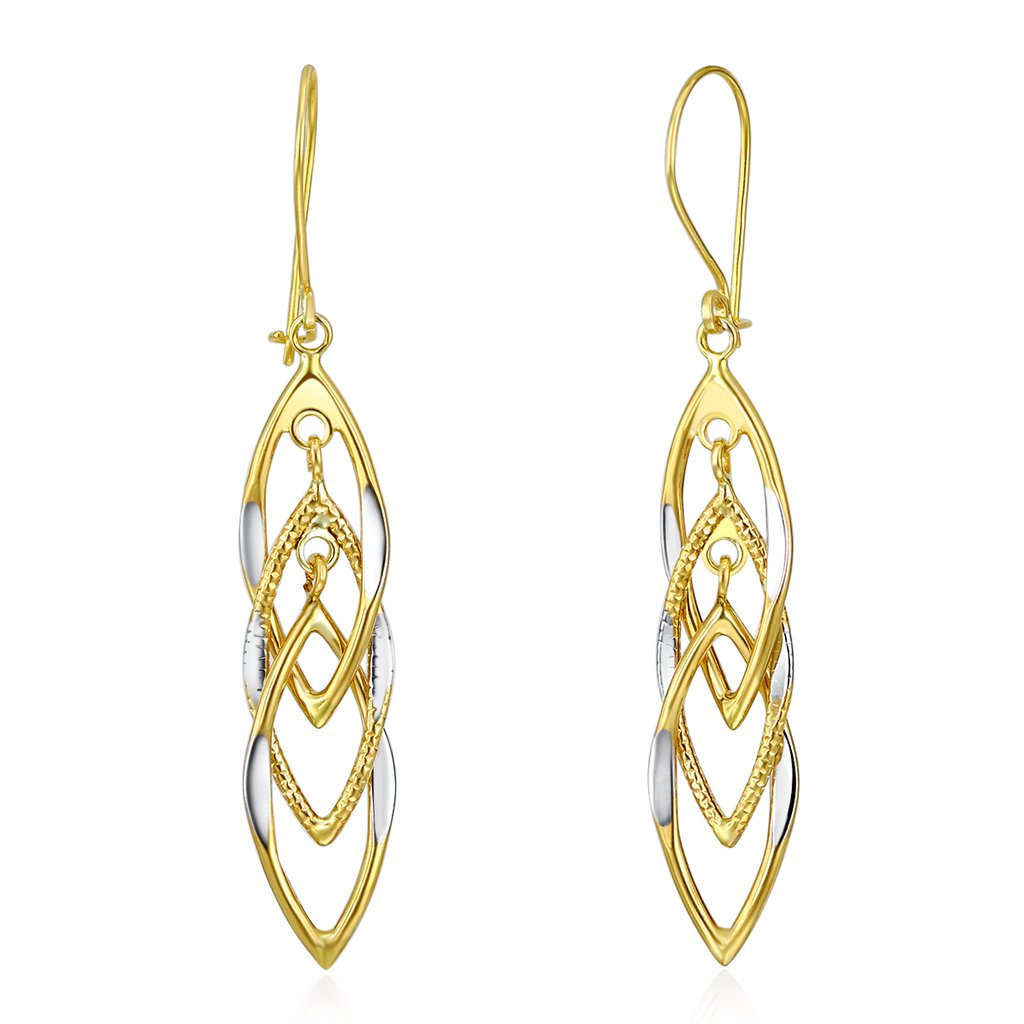 Wellingsale Ladies 14k Two Tone White and Yellow Gold Polished Fancy Dangle Hanging Drop Earrings (10 X 40mm)