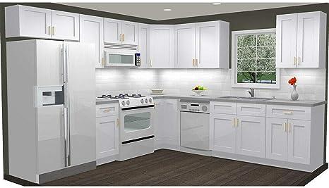 Amazon Com Lily Ann Cabinets 10x10 Wood Kitchen Cabinets Ready To Assemble Rta Summit Shaker White Kitchen Dining