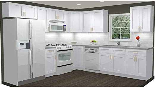 Amazon Com Lily Ann Cabinets 10x10 Wood Kitchen Cabinets Ready To Assemble Rta Summit Shaker White Kitchen Dining