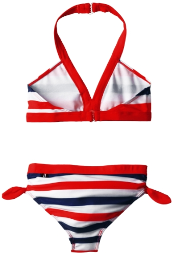 Nautica Girls 7-16 Multi Stripe Bikini, True Red, 10