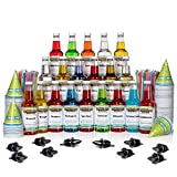 Hawaiian Shaved Ice 20 Flavor Fun Pack of Snow Cone Syrup, 20 pints | Kit Features 20 Snow Cone Syrup Flavors (16 oz. Each) & 20 black bottle pourers, 200 cups, and 200 spoon straws