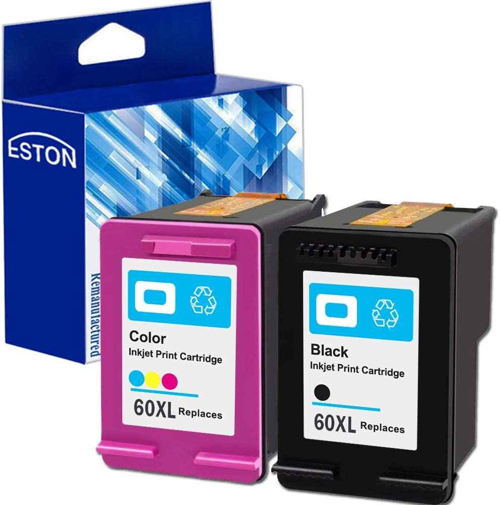 ESTON Remanufactured Ink Cartridges (Black Tri-color) for HP 60XL Compatible with Deskjet D2680 D5560 ( 2 Pack)