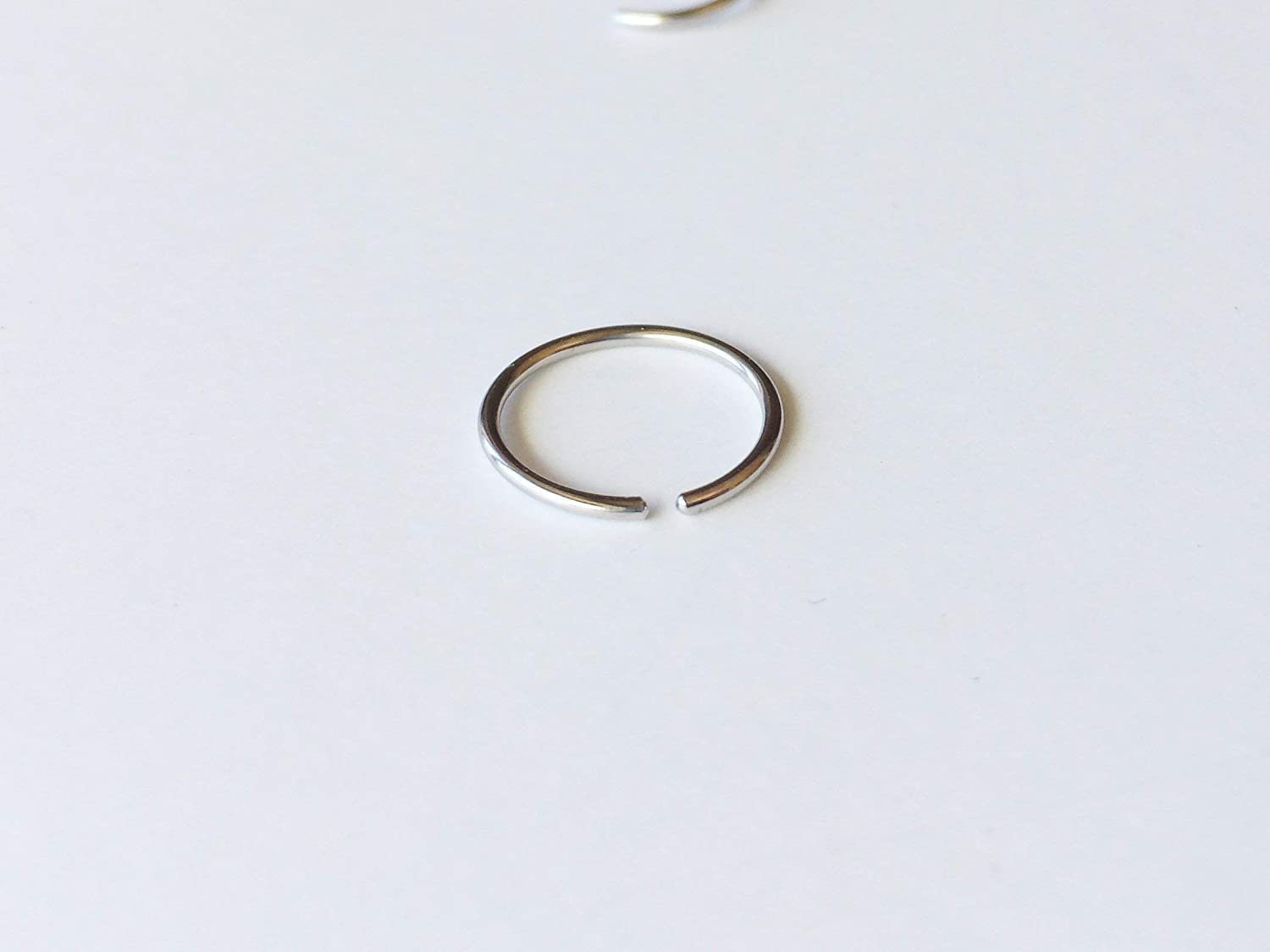 14k Solid White Gold Nose Ring Hoop Piercing Jewelry 20 Gauge 6mm 1