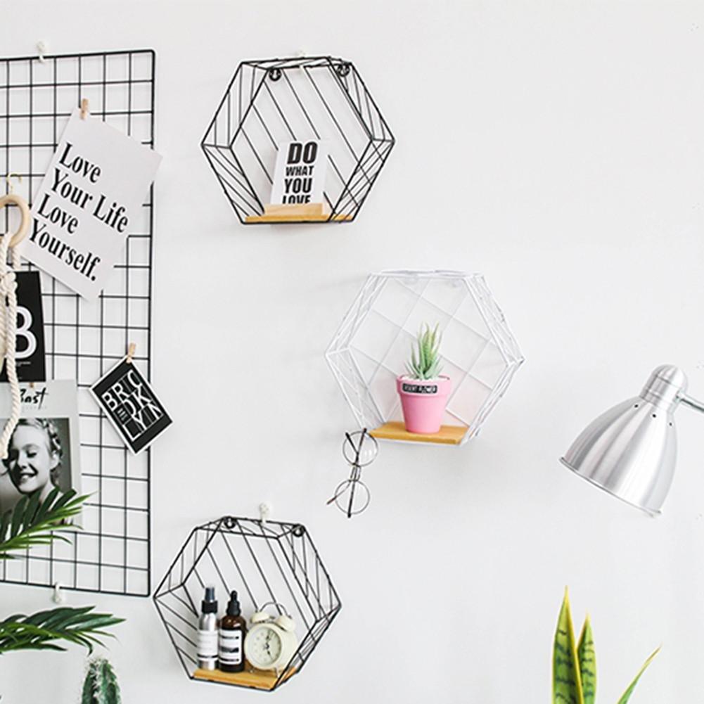 navigatee Kreative Vintage Schmiedeeisen Sechseck Regal Wand Tee Shop Cafe Weinschrank Wanddekorationen 8 Stil