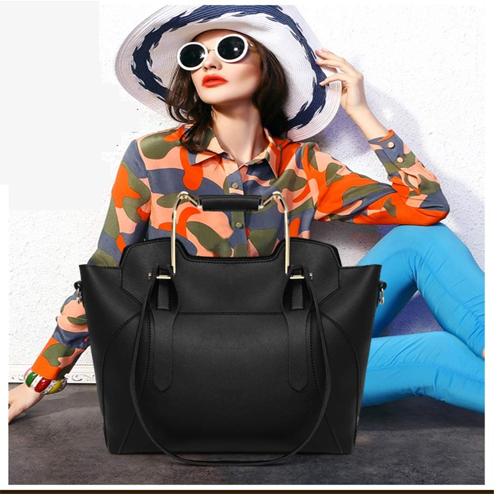 Damväska set mode damväska set PU-läder enfärgad messengerväska handväska damplånbok damhandväska set (färg: Röd) Svart