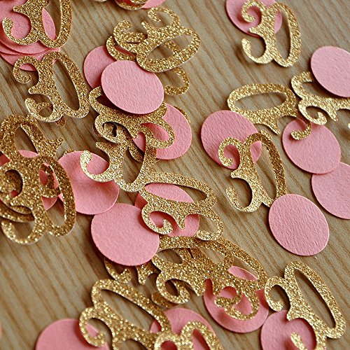 30th Birthday Decor. Number and Circle Confetti in Glitter Gold and Coral. 2 Packs (50ct each).