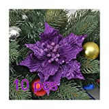 10Pcs Glitter Hollow Wedding Party Decor Christmas Artificial Fabric Simulation Flower Xmas Tree Decorations ADSRO (purple)