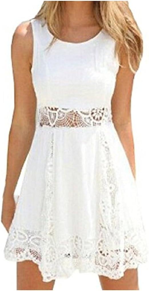 Qissy® Damen Sommerkleid Strandkleid Rundhals Ausschnitt ärmellos