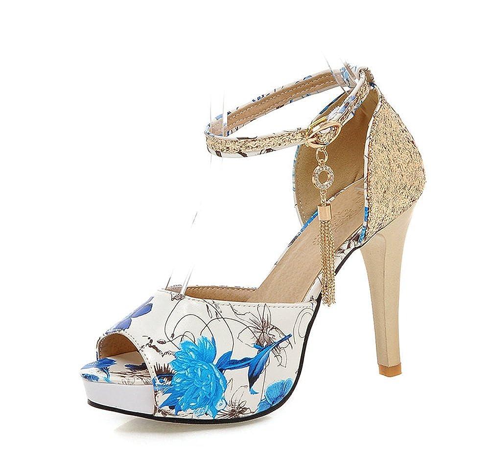 1ee24620c1 Aisun Damen Kunstleder Blumen Muster Peep Toe Paillette Stiletto Strass  Troddel Sandale: Amazon.de: Schuhe & Handtaschen