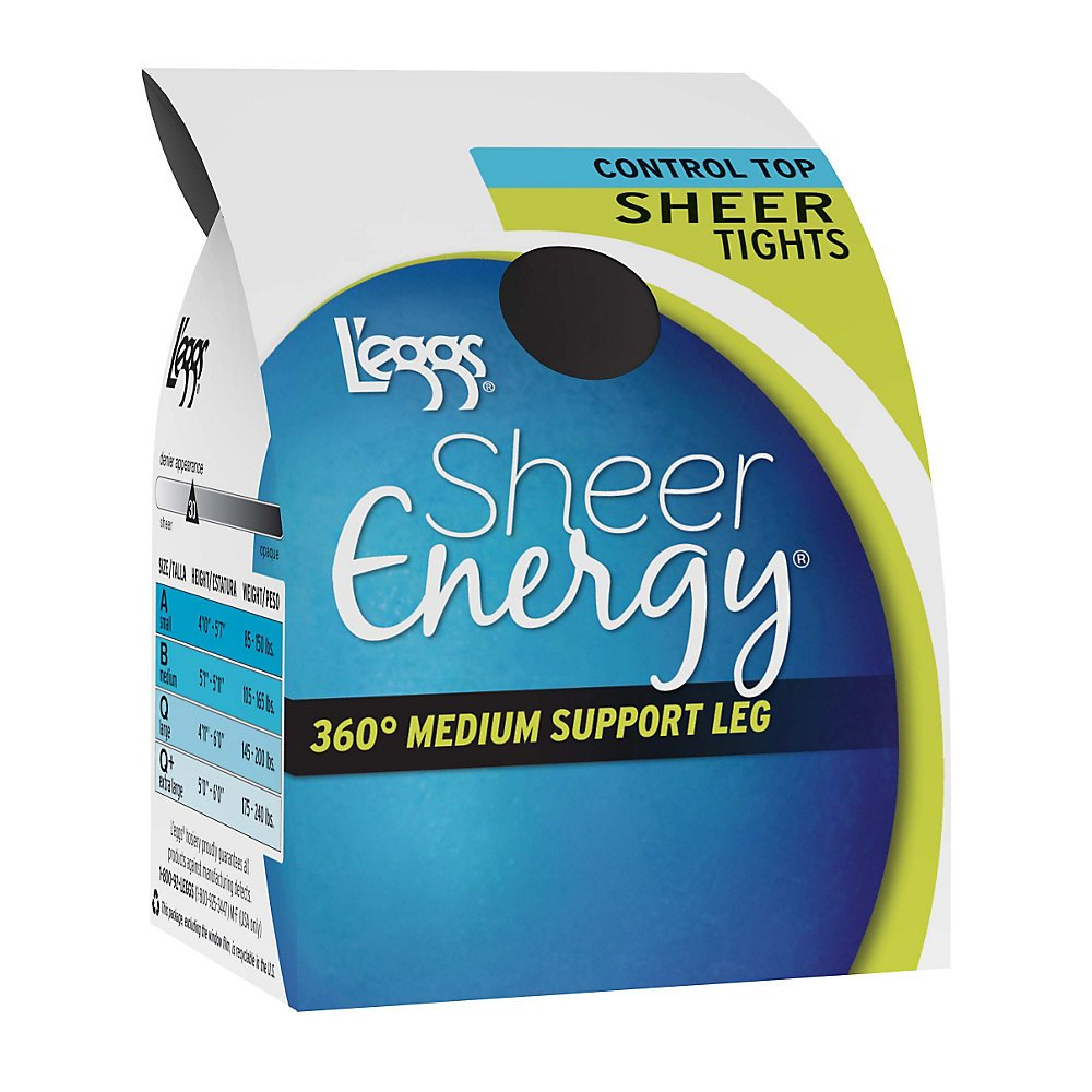 L'eggs Sheer Energy Control Top Sheer Tight,,Jet Black,,A,,2PACK