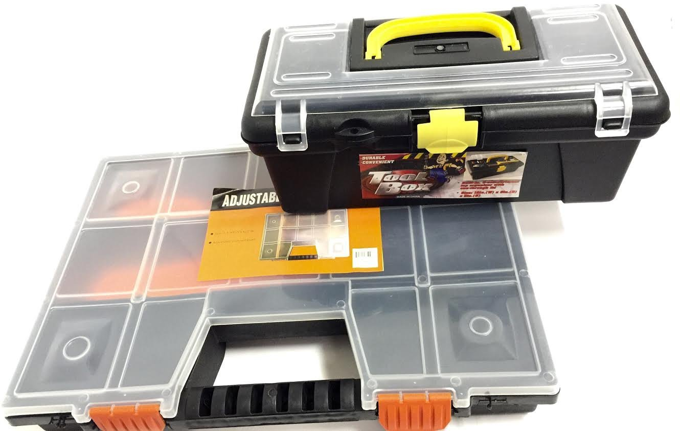 15'' L X 10.5'' W X 2.3'' H Adjustable Storage Box Compartment and 12'' L X 6'' W X 5'' H Tool Box Set - (Assorted Color)