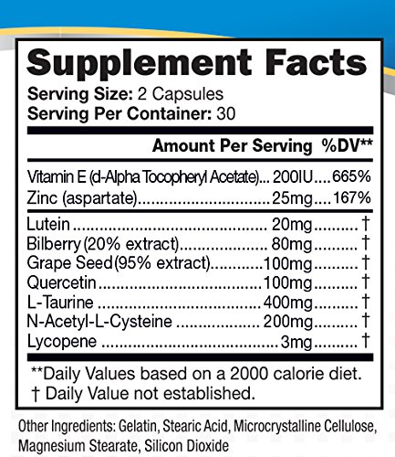Lipotriad Vision Support Plus - 20mg Lutein 80mg Bilberry 665 DV Natural Vitamin E - Advanced Eye Vitamin Supplement w 9 Natural Antioxidant Herbal and Mineral ingredients -Beta-Carotene Free Discount