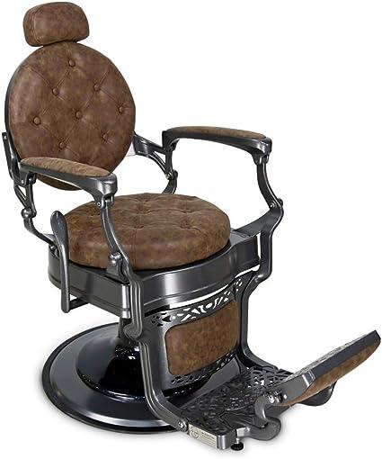 Barber Chair Sedia Da Uomo In Pelle Stile Barbier Stile Vintage Stile Vintage Vintage Vintage Marrone E Grigio Oldschool Chesterfield Originale John Barber Sons Amazon It Bellezza