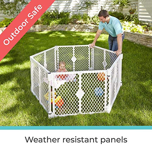 """611EflZwdfL Toddleroo by North States Superyard 6 Panel Baby Play Yard/Barrier with Wall Mount Kit: Create a safe play area or extra wide baby gate anywhere. 38.5"""" - 201"""" wide, 18.5 ft. enclosure (26"""" tall, Gray)    Your big girl or boy wants to have fun, and the Toddleroo by North States Superyard with Wall Mounts is an excellent solution for creating a safe and engaging play area anywhere--inside or out. The high-quality, six-panel yard encloses up to 18.5 square feet and is 26 inches high. And with the included hardware, you can make almost any space a safe place for your little one to explore. Setting up the Superyard as a play yard is easy, the six interlocking panels are pre-connected--simply pull the panels out of box, unfold and connect them together. Tools required for wall mount feature. It's the perfect solution for homes with open floor plans or large spaces that need blocking off. Fits openings from 38.5 inches to over 16 feet wide. Comes complete with skid-resistant pads, won't slip or scratch, works on any surface. The Superyard includes a convenient carry handle which makes this lightweight yard easy to bring the fun with you. To increase the play area, a Two-Panel Extension is available separately. Toddleroo by North States products are solidly constructed from the highest-quality materials to withstand rigorous day in, day out use. Every Toddleroo by North States gate is JPMA and ASTM certified. We prioritize your family's safety first."""