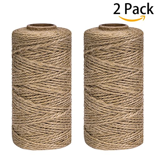 Jute Twine String for Crafts, Bakers Twine Rope - 2 Pack, Approximately 1312 Feet