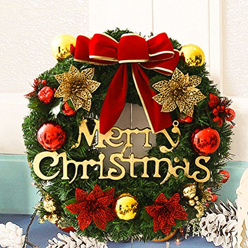 Christmas Wreath, Artificial Decorated Pine Small & Large Wreath, Front Door Window Decoration with Balls Bowknot Bells(24in Red) (Decorations For Wreaths)