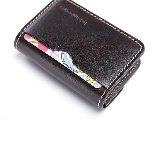 Teemzone Mini Tarjetero de Crédito Piel Caja de Tarjeta de Visita Café
