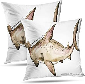 Hdmly Sea Life Decorative Throw Pillow Covers Cushion Cover, Shark Underwater Life Watercolor Sea Animal Ocean Set of 2 Pillow Cases for Home Decor Sofa Couch Bed Cotton 18 x 18 Inch