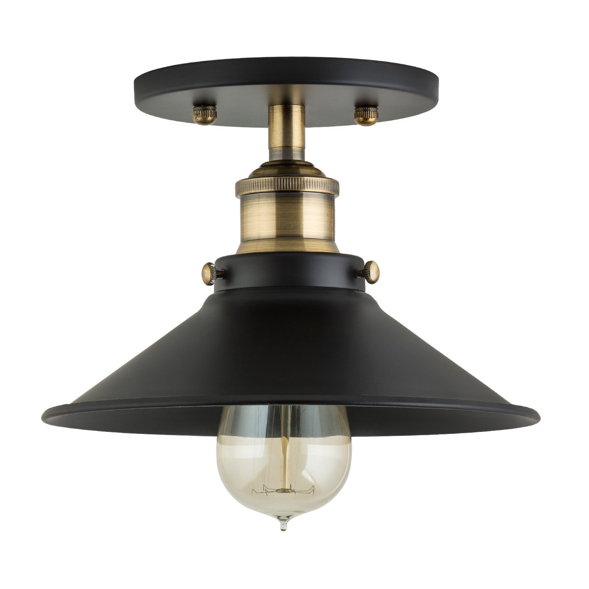 Andante LED Industrial Ceiling Light Fixture - Antique Brass - Linea di Liara LL-C407-LED-AB