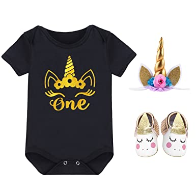f630532a3a6d1 Unicorn One Flower Outfit Baby Girls Romper Lace Flutter Sleeve Jumpsuit +  Crown Horn Headband +