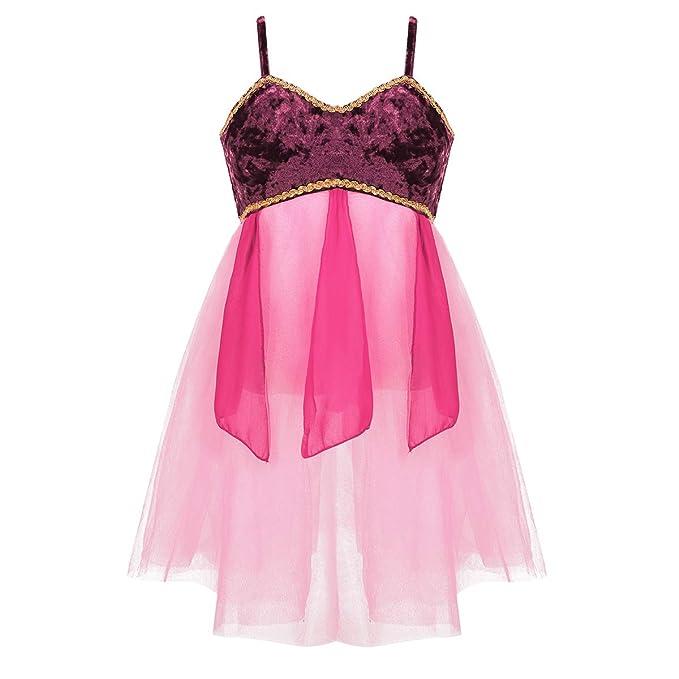 dPois Vestido de Danza Lírica para Niña Maillot con Falda de ...