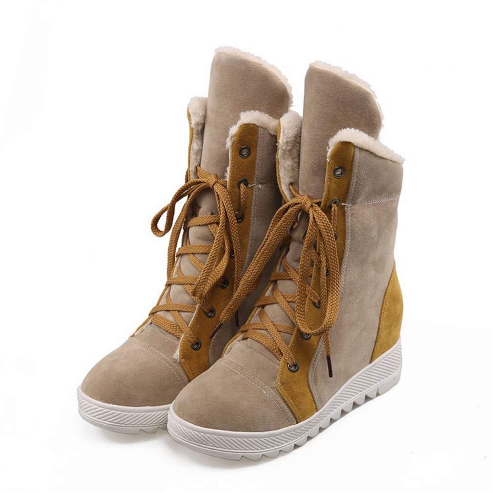 Hy Damen Freizeitschuhe Winter Wildleder Lace-up Snow Stiefel Stiefel Damen Flat Large Größe Stiefelies/Stiefeletten Winter Stiefel (Farbe : Camel, Größe : 36)
