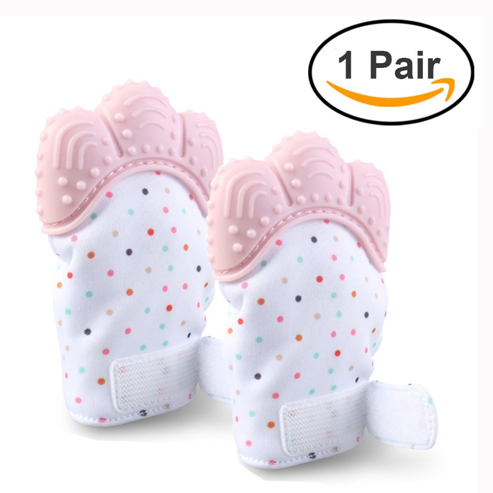 Echodo Pair of Baby Teething Mitten Self Soothing Pain Relief Mitt with Velcro Straps Silicon Teether Glove for Infants