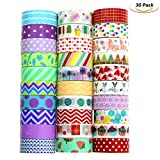 Buluri Washi Tape, 30 Rolls Washi Masking Tape Adhesive Decorative Tape for Scrapbooking DIY Crafts