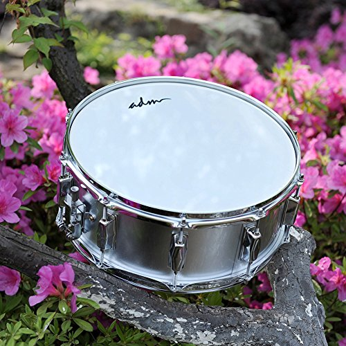 ADM Student Snare Drum Set with Case, Sticks, Stand and Practice Pad Kit, Shiny Silver by ADM (Image #1)
