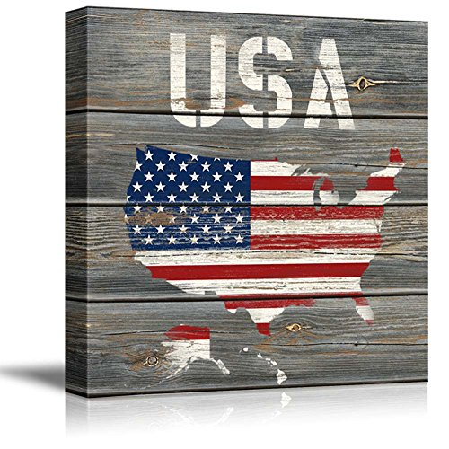 USA MAP with Starts and Strips Flag Pattern Wood Background Rustic Country Western