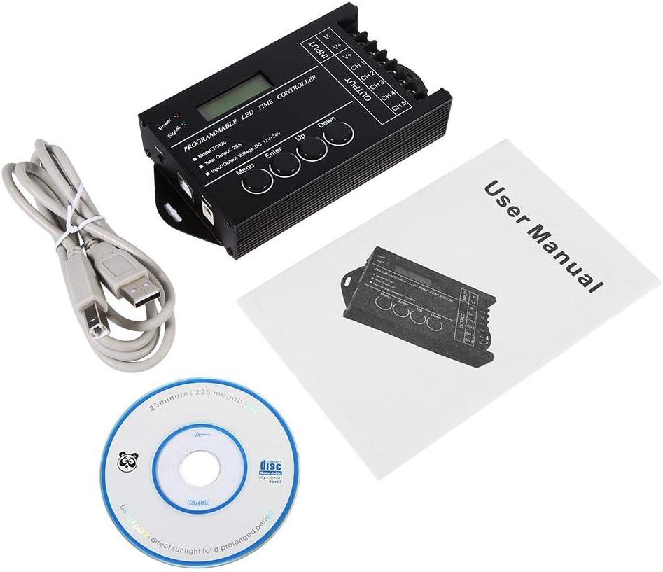 Controlador de Tiempo,DC12 / 24V 20A Controlador de Tiempo Led Programable 5 Canales Color Ajustable con CD Cable USB,Adecuado para Controlar Varias Luces para DecoracióN