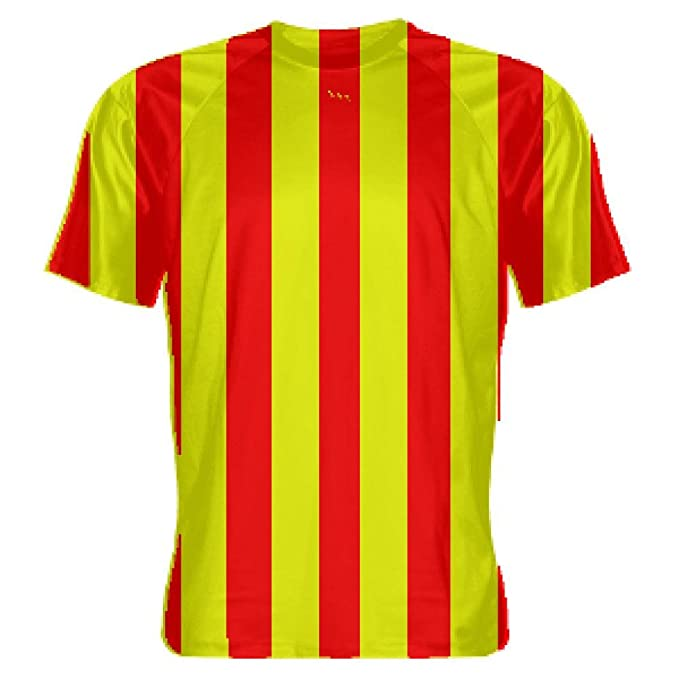 ebeec6bc60f Amazon.com  Youth Red and Yellow Striped Soccer Uniforms - Striped Soccer  Shirts