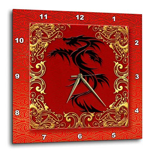 (3dRose DPP_101857_2 Chinese Zodiac Year of The Dragon Chinese New Year Red, Gold and Black-Wall Clock, 13 by 13-Inch)