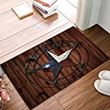 SUN-Shine Rustic Rug Western Texas Star Doormats Non Skid Entryway Door Mat Vintage Wood Board for Indoor Bathroom Bedroom Kitchen Living Room