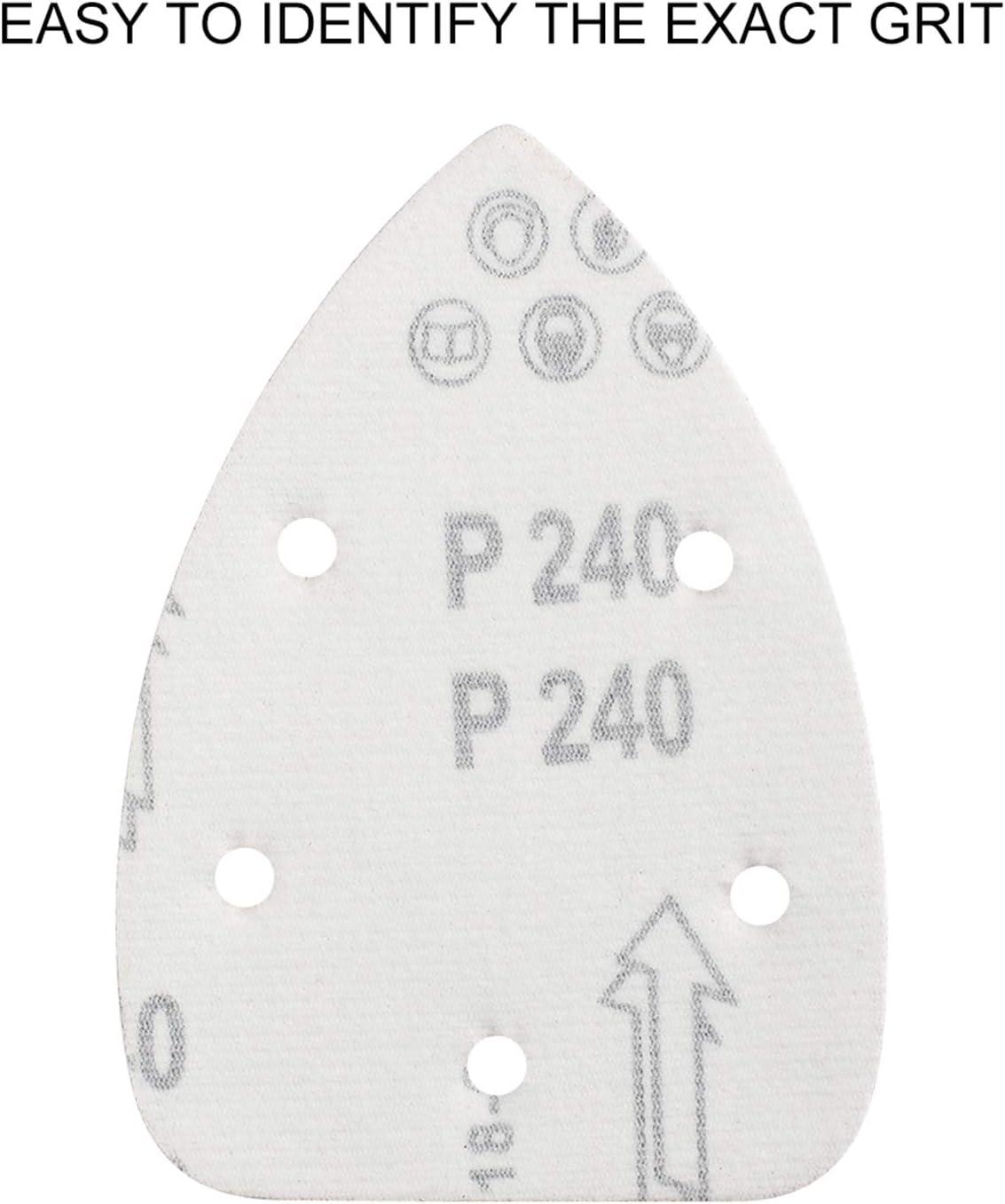 Niady Hojas 60pcs rat/ón Papel de lija abrasivo independiente palma papel de lija 140x140x100mm 11 agujeros 80 grit