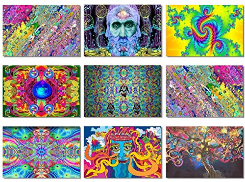 9x Fabric Poster Psychedelic Trippy Colorful Trippy Surreal Abstract Astral Digital Wall Art Prints 47x31.5