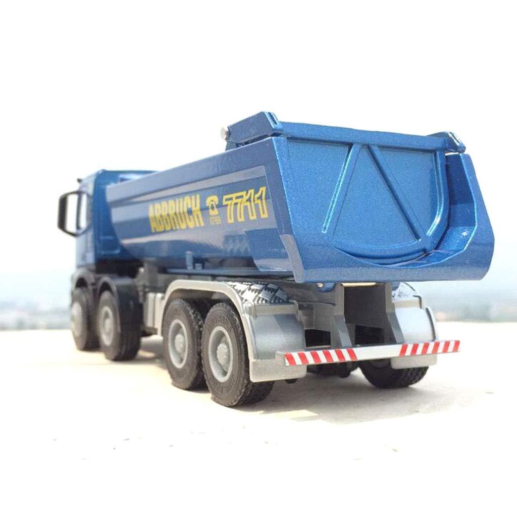 Modèle de jouet de camion, moule en alliage de camion de transport à l\'échelle 1:50 (Jouet de camion à benne basculante - Pour enfants, Fournitures de fête d\'anniversaire pour tout-petits) (bleu) siyushop