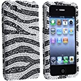 Dream Wireless HD Full Diamond Case for iPhone 4/4s - Retail Packaging - Black/Silver Zebra