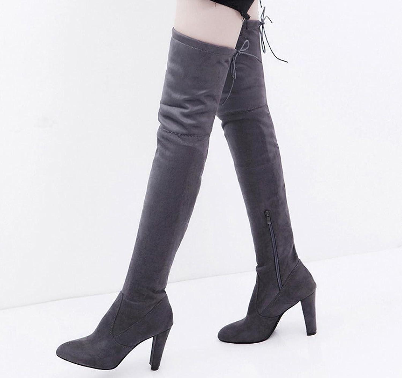 Stiefel Damen Schuhe Sonnena Hoher Schlauch Frauen Stretch Faux Schlank Hohe Stiefel über die Blockabsatz Boots Knie Stiefel High Heels Schuhe Velours Look Flache Boots (40, Sexy Schwarz)