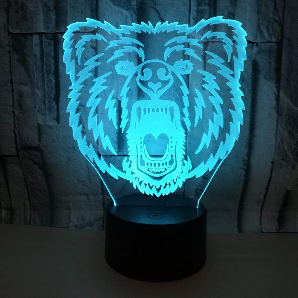 Bear Head 3D Illusion Lamp, 7 Color Changing Touch Table Desk LED Night Light Great Kids Gifts Home Decoration - 5V