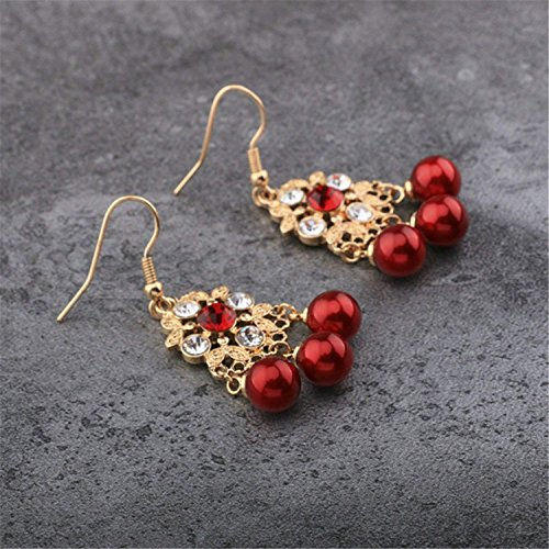 LeNG Earrings For Women NEW Classical Ear Stud With Red Pearl Round Shape Earrings Fine Jewelry EH007,Aspicture by LeNG Earrings (Image #6)