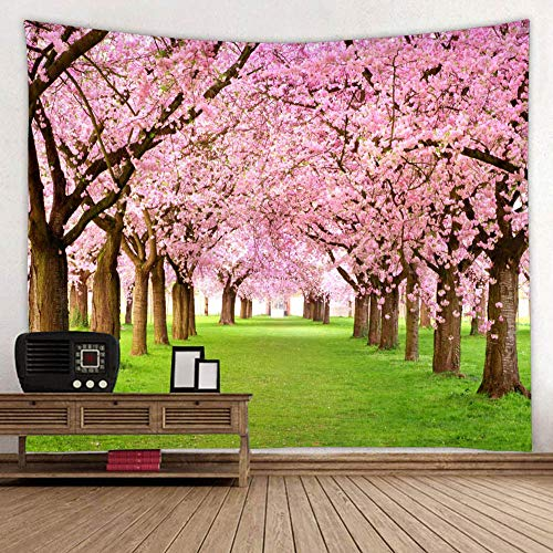Garden Plants Grasses - BROSHAN Wall Tapestry Spring Flowers, Cherry Flower Tree Woodland Grasses Plants Natural Garden Scene Wall Art Tapestry Backdrop Fabric Wall Hanging Blanket for Bedroom Living Room Dorm