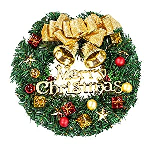 Luxanna Christmas Wreaths Decorative Pine Rattan with Bowknot Jingle Bell Ball Ornaments Door Garland for Xmas Party Home Decorations (Gold) (Gold)