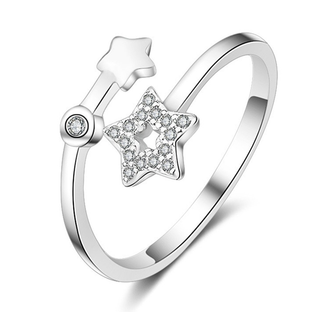 S925 Silver Plated Cubic zirconia Double Five-pointed star Women Open Band Ring, adjustable BulingVV BLVV42