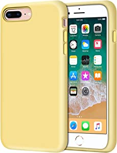 "Anuck iPhone 8 Plus Case, iPhone 7 Plus Case, Soft Silicone Gel Rubber Bumper Case Microfiber Lining Hard Shell Shockproof Full-Body Protective Case Cover for iPhone 7 Plus /8 Plus 5.5"" - Yellow"