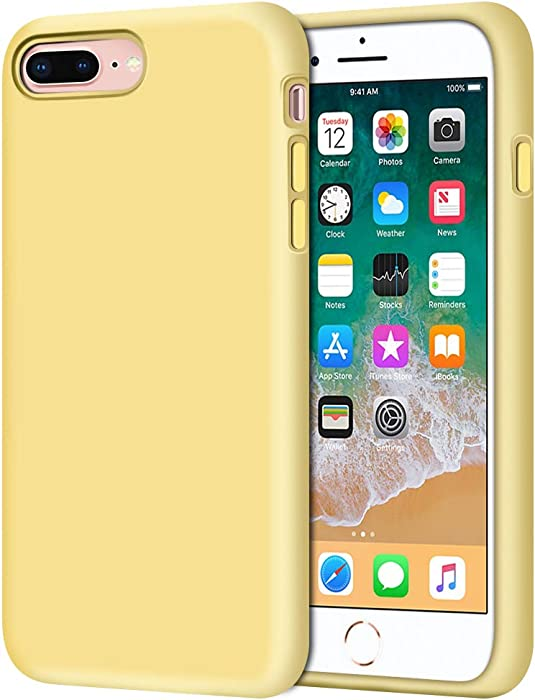 """Anuck iPhone 8 Plus Case, iPhone 7 Plus Case, Soft Silicone Gel Rubber Bumper Case Microfiber Lining Hard Shell Shockproof Full-Body Protective Case Cover for iPhone 7 Plus /8 Plus 5.5"""" - Yellow"""